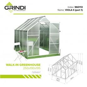 Szklarnia ogrodowa z poliwęglanu - Viola II - 250x190x195