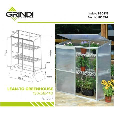 Szklarnia ogrodowa z poliwęglanu - 130x58x140 - Przyścienna