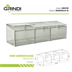 Szklarnia ogrodowa z poliwęglanu - 180x51x51 - Potrójna