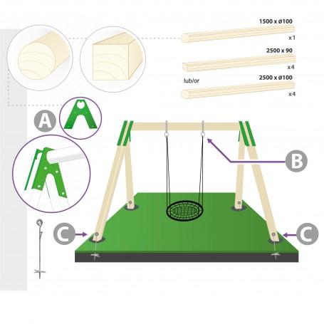 Zestaw montażowy huśtawki bocianie gniazdo do belki okrągłej 100mm - zielony