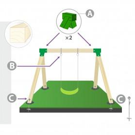 Zestaw montażowy huśtawki do belki kwadratowej 90mm - zielony
