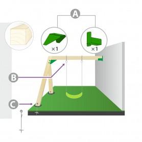 Zestaw montażowy huśtawki do ściany i belki kwadratowej 90mm - zielony