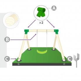 Zestaw montażowy huśtawki do belki okrągłej 100mm - zielony