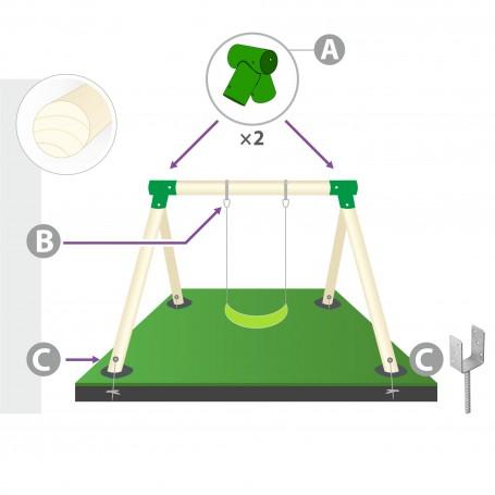 Zestaw montażowy huśtawki do belki okrągłej 100mm zielony
