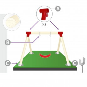 Zestaw montażowy huśtawki do belki okrągłej 100mm - czerwony