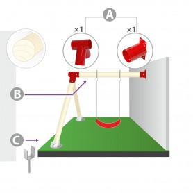 Zestaw montażowy huśtawki do ściany i belki okrągłej 90mm - czerwony