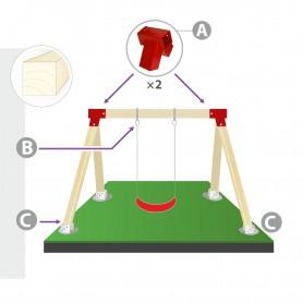 Zestaw montażowy huśtawki do belki kwadratowej 90mm - czerwony