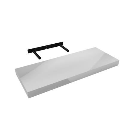 Półka ścienna samowisząca - Biała wysoki połysk - FSG 60x23