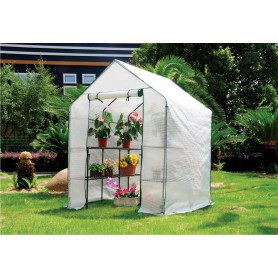 Szklarnia ogrodowa biała domek - 143x143x195 - Canna II