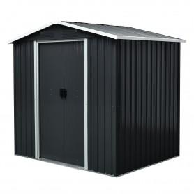 Domek ogrodowy metalowy, szary - Fiori II - 131x194x184