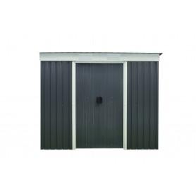 Domek ogrodowy metalowy, szary - Alnus - 110x217x184