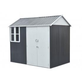 Domek ogrodowy metalowy, szary - Betula - 172x259x229