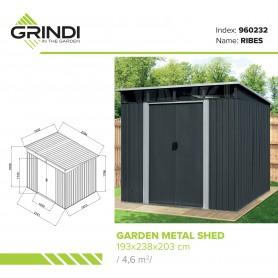 Domek ogrodowy metalowy, szary - Ribes - 193x238x203