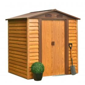 Domek ogrodowy metalowy, imitacja drewna - Arbor I - 152x193x203