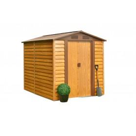 Domek ogrodowy metalowy, imitacja drewna - Arbor II - 195x236x209