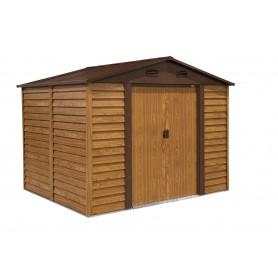 Domek ogrodowy metalowy, imitacja drewna - Arbor III - 238x278x215