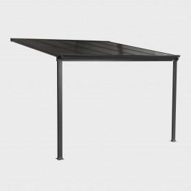 Pergola tarasowa przyścienna aluminiowa, szara - Nea I 3x3m