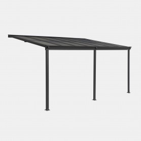 Pergola tarasowa przyścienna aluminiowa, szara - Nea II 4,3x3m