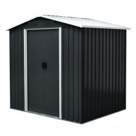 Domek ogrodowy metalowy, szary - Fiori III - 174x236x190